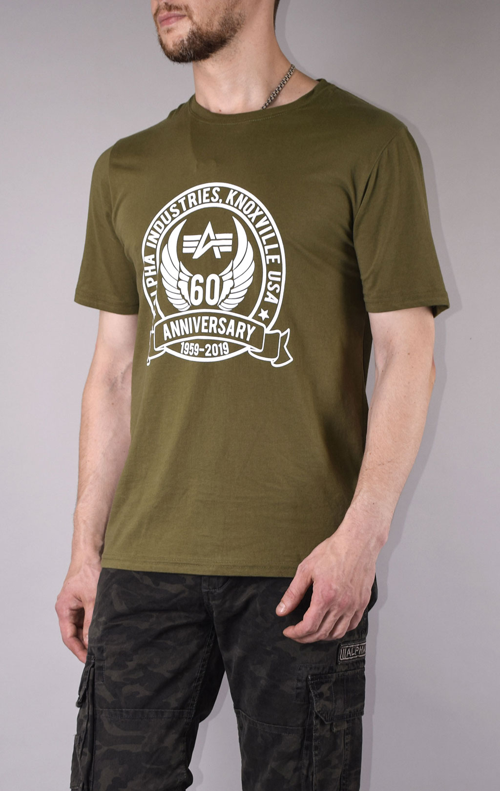 Футболка ALPHA INDUSTRIES 60TH ANNIVERSARY deep olive